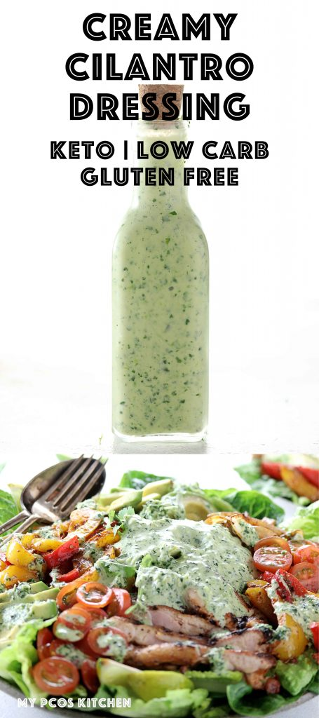 Cilantro Lime Vinaigrette - My PCOS Kitchen - A delicious low carb salad dressing made with healthy oils, cilantro and yogurt! #cilantrodressing #cilantrolime #lowcarb #glutenfree #ketogenic #saladdressing