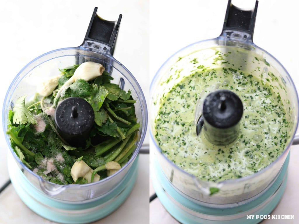 Cilantro Lime Vinaigrette - My PCOS Kitchen - Making the cilantro dressing in a small food processor.