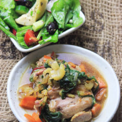 Swiss Chard & Chicken with Artichoke Salad