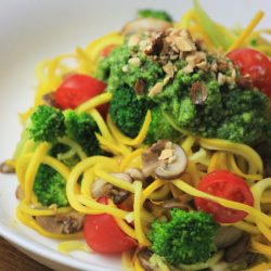 My PCOS Kitchen - Paleo Low Carb Pesto Zoodles - Delicious homemade parsley pesto topped with spiralized summer squash.