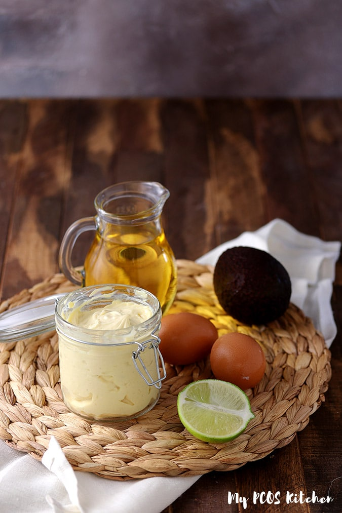A small jar of paleo mayonnaise made with avocado oil, eggs and lemon juice.