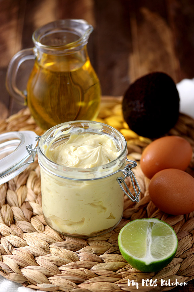A jar of homemade keto mayo made with avocado oil.