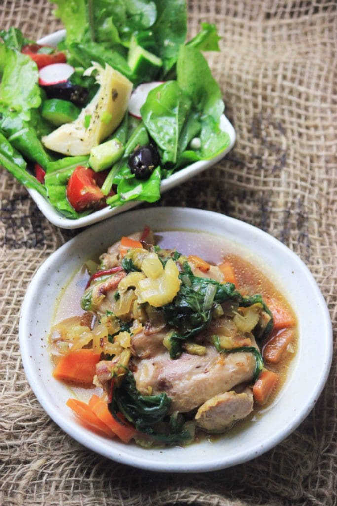 My PCOS Kitchen - One Pan Chicken & Swiss Chard - This paleo, keto, gluten-free one pan meal is the perfect healthy dinner idea!