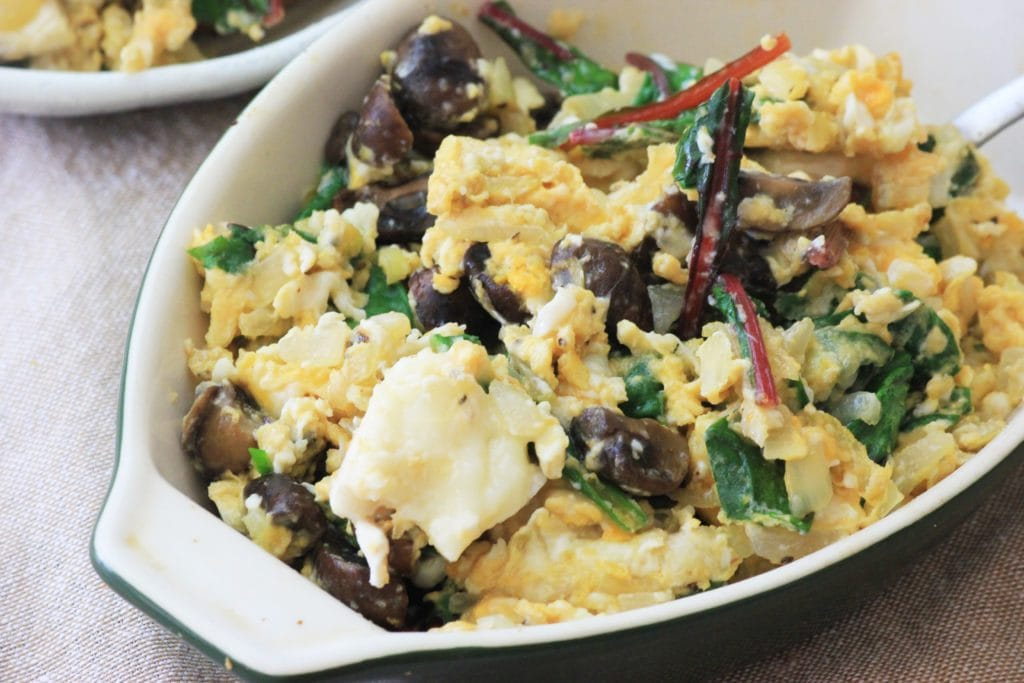 My PCOS Kitchen - Swiss Chard & Chevre Scramble - Creamy eggs smothered in delicious goat cheese.