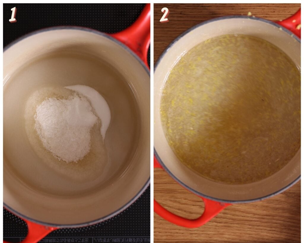 Images showing a simple syrup in a pot on the left and with lemon juice added on the right.