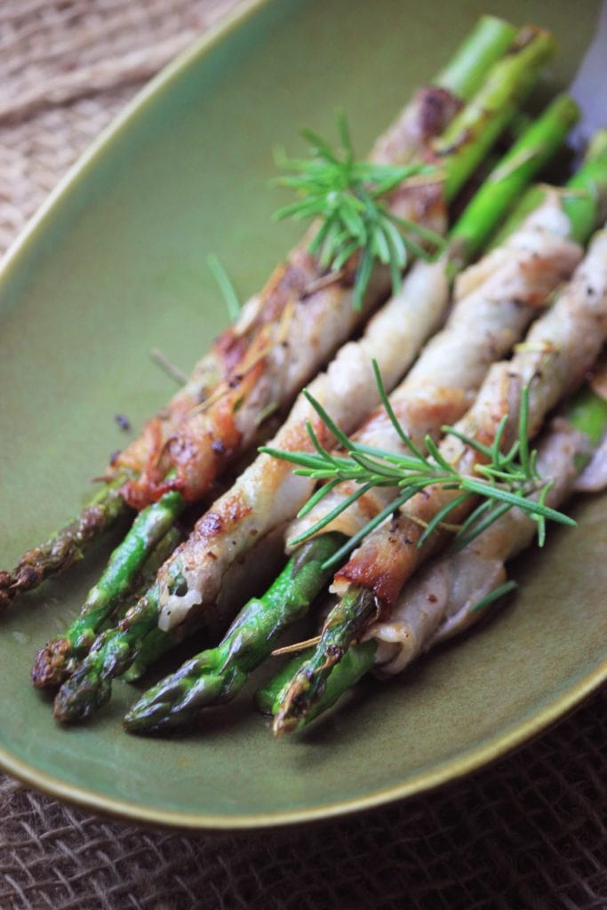 My PCOS Kitchen - Bacon-wrapped Asparagus - Fried with some fresh rosemary stems, these asparagus are the perfect side or appetizer!