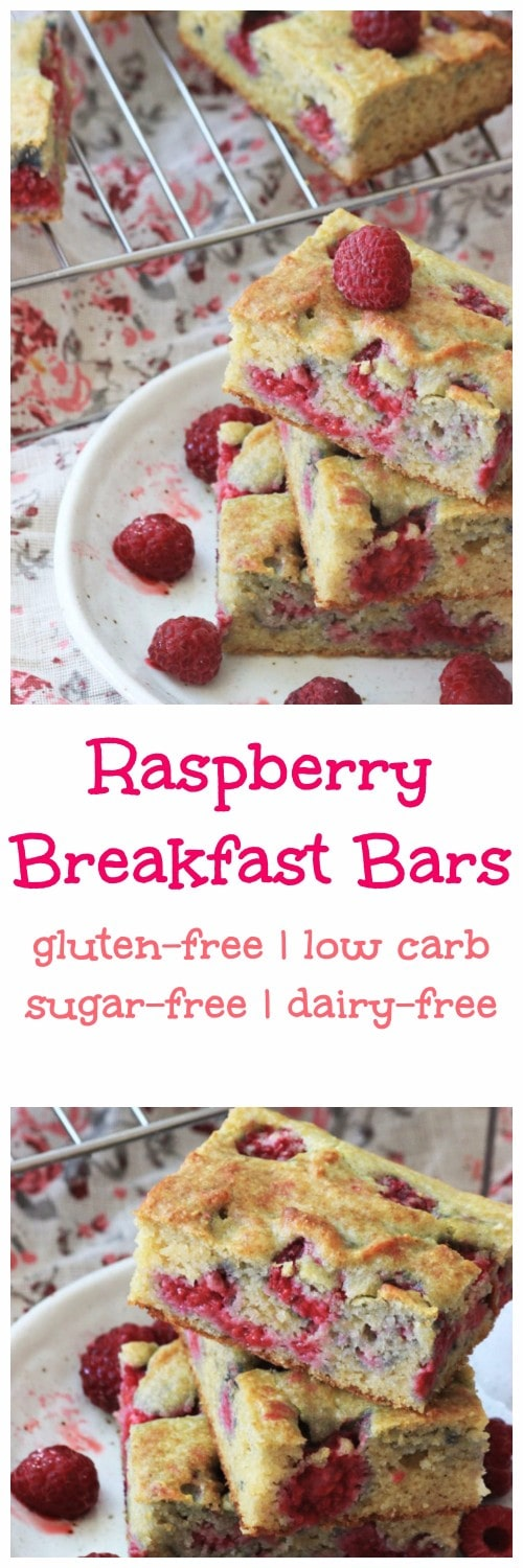 My PCOS Kitchen - Raspberry Breakfast Bars - These sweet cake bars are the perfect healthy breakfast!  Gluten-free and sugar-free!