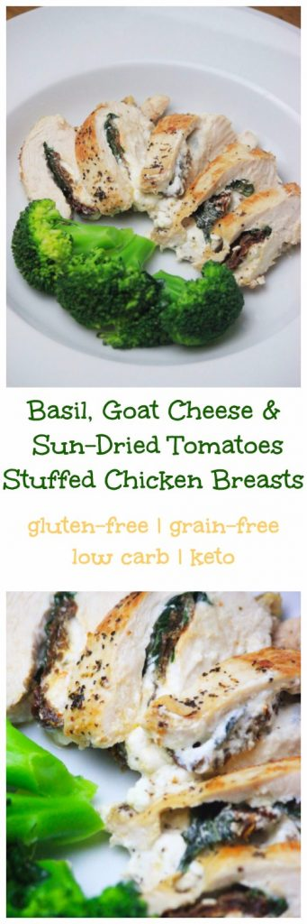 My PCOS Kitchen - Stuffed Chicken Breasts with Basil, Goat Cheese and Sun Dried Tomatoes - The best low carb and gluten-free dinner idea!