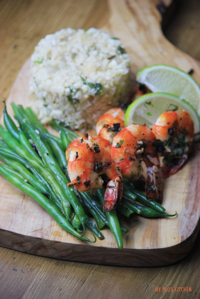 My PCOS Kitchen - Cilantro Lime Shrimp Skewers & Cauli Rice - An easy low carb and gluten-free dinner served with a side of green beans.