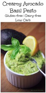 My PCOS Kitchen - Creamy Avocado Basil Pesto - This cream is perfect to spread on sandwiches or wraps! Paleo, gluten-free and low carb!