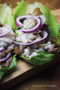 Philly Cheese Steak Lettuce Wrap (Keto)