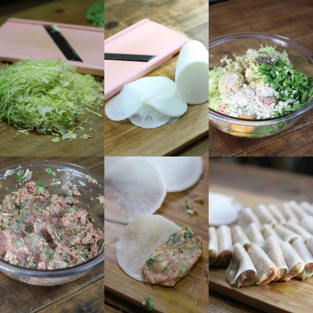 Steps needed to make paleo Japanese gyoza.