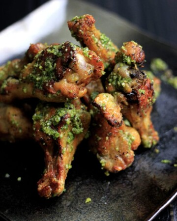 My PCOS Kitchen - Pesto Chicken Wings - These parsley pesto coated wings are the perfect game day appetizer! Keto and paleo approved!