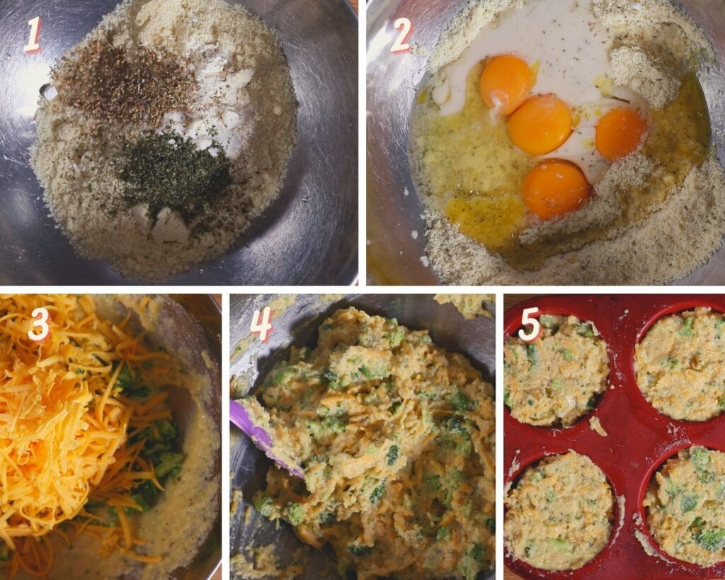 Images showing how to make cheddar broccoli muffins gluten free.