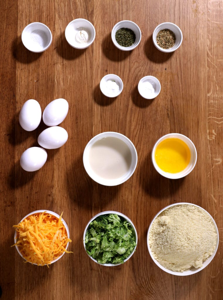 Ingredients used to make low carb savory muffins with cheddar and broccoli.