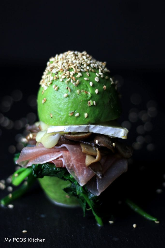 My PCOS Kitchen - Prosciutto & Brie Avocado Bun - The most amazing low carb breakfast/lunch/dinner you can ever have! No need to worry about buns when you have gluten-free avocado buns!