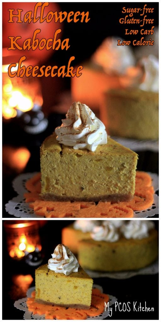 My PCOS Kitchen - Creamy Halloween Kabocha Cheesecake. This cheesecake is gluten-free and sugar-free. It is perfect for a low carb, keto, lchf diet!