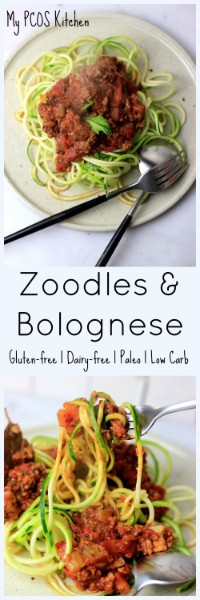 My PCOS Kitchen - Zucchini Bolognese - The perfect low carb, gluten-free, dairy-free and low calorie pasta recipe!