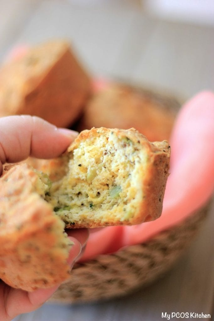 My PCOS Kitchen - Keto Broccoli Cheddar Muffins - These delicious low carb muffins are also gluten-free and sugar-free! Perfect for breakfast or a light snack.
