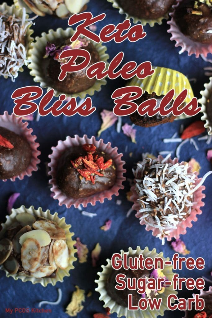My PCOS Kitchen - Keto Paleo Chocolate & Nuts Bliss Balls - Gluten-free, low carb, dairy-free.