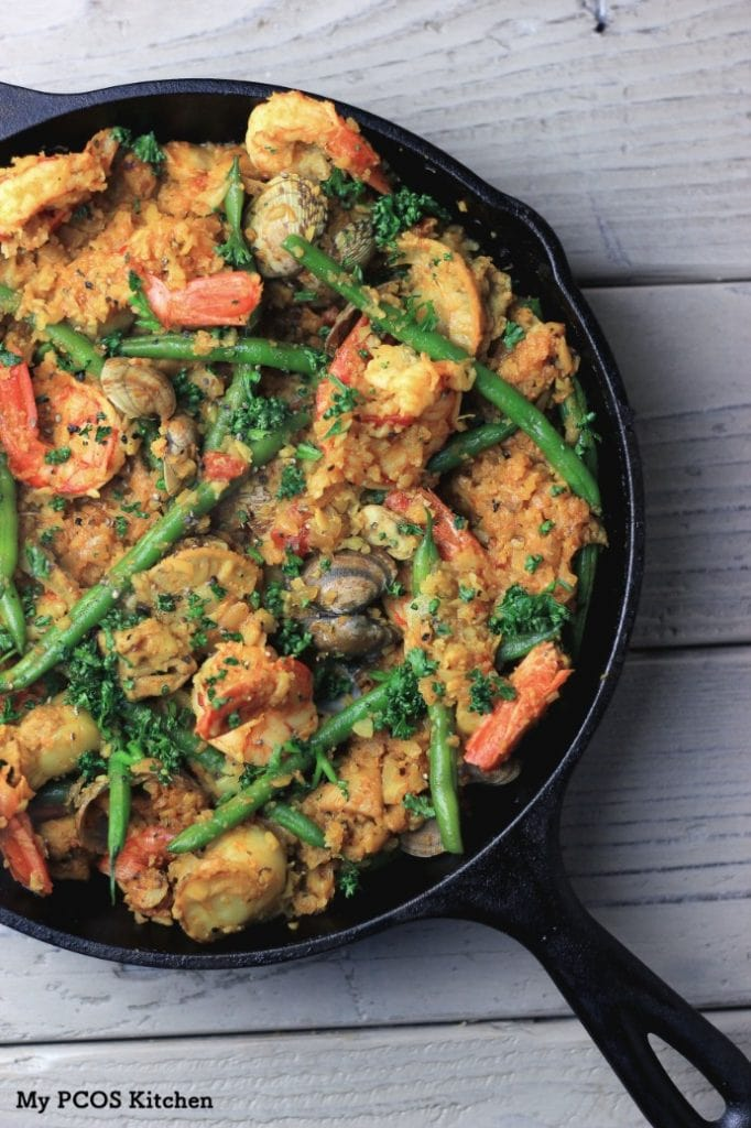 My PCOS Kitchen - Keto Paleo Paella with Cauliflower Rice - A gluten-free, dairy-free and low carb version of the popular Spanish Paella