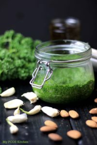 My PCOS Kitchen - Parsley Pesto Sauce - A dairy-free and gluten-free creamy pesto sauce that is Paleo and keto!