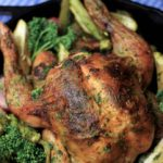 My PCOS Kitchen - Keto Paleo Pesto Roast Chicken & Veggies - A beautiful roasted bird stuffed with homemade pesto sauce that is gluten-free, dairy-free and low carb!