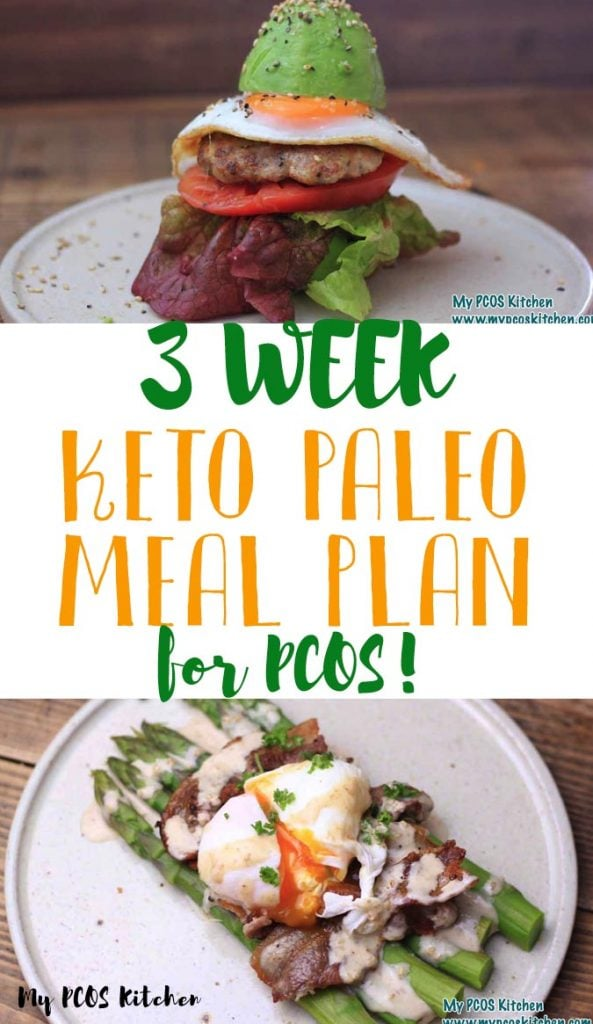 My 3 week keto meal plan is the perfect PCOS meal plan for women with PCOS or diabetes. These keto recipes are all dairy free, gluten free and sugar free and are all under 20g net carbs per day! If you're looking for a meal plan for when you're on a budget, but want to stay healthy, this is it!