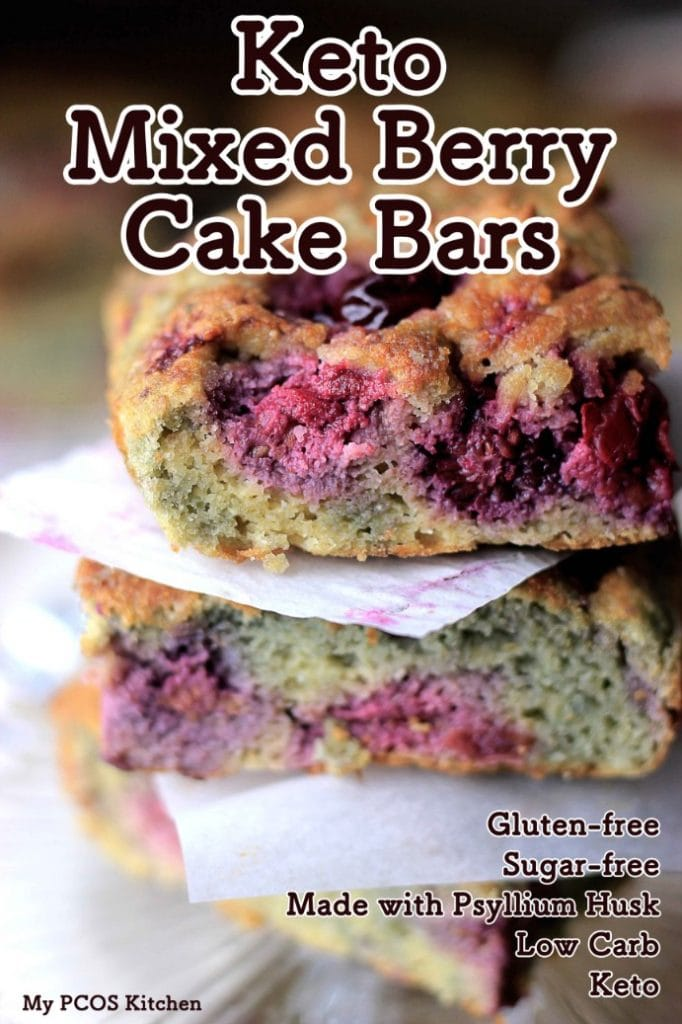 My PCOS Kitchen - Keto Mixed Berry Cake Bars - These healthy and delicious raspberry and blackberry breakfast cake bars are gluten-free, sugar-free, can be dairy-free and are low carb!!