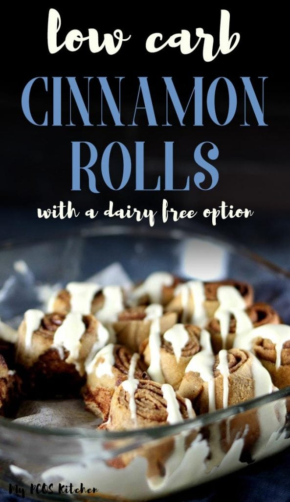 These healthy cinnamon rolls are to die for! Topped with a stevia sweetened cream cheese frosting, these keto cinnamon rolls are soft, moist and fluffy. You won't believe these are sugar free and gluten free! #cinnamonrolls #ketodessert #mypcoskitchen