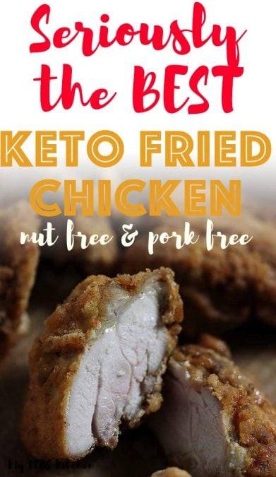 This amazing keto fried chicken recipe is completely nut free, gluten free and pork-free. It doesn't use any parmesan, almond flour, coconut flour or pork rinds and you get the most crispy, juiciest chicken thighs ever. This low carb fried chicken recipe is seriously better than KFC. #ketofriedchicken #mypcoskitchen #friedchicken