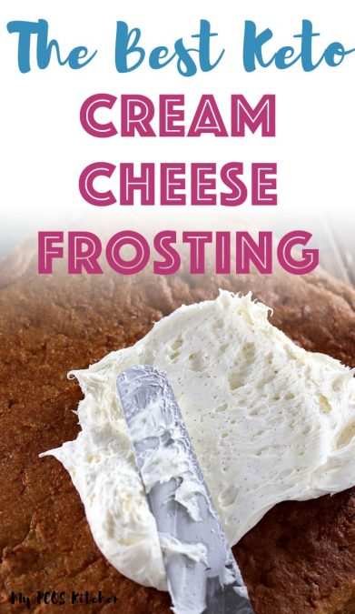 Can you believe there's no sugar and no butter in this easy cream cheese frosting recipe? This keto cream cheese frosting is made with powdered erythritol and stevia making it taste just like a regular sugar frosting. This low carb frosting can be used on cupcakes, cakes, carrot cake, cinnamon rolls and cookies!
