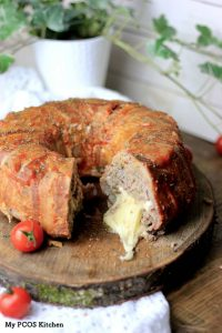 Cheese-Stuffed Bacon-Wrapped Bundt Meatloaf