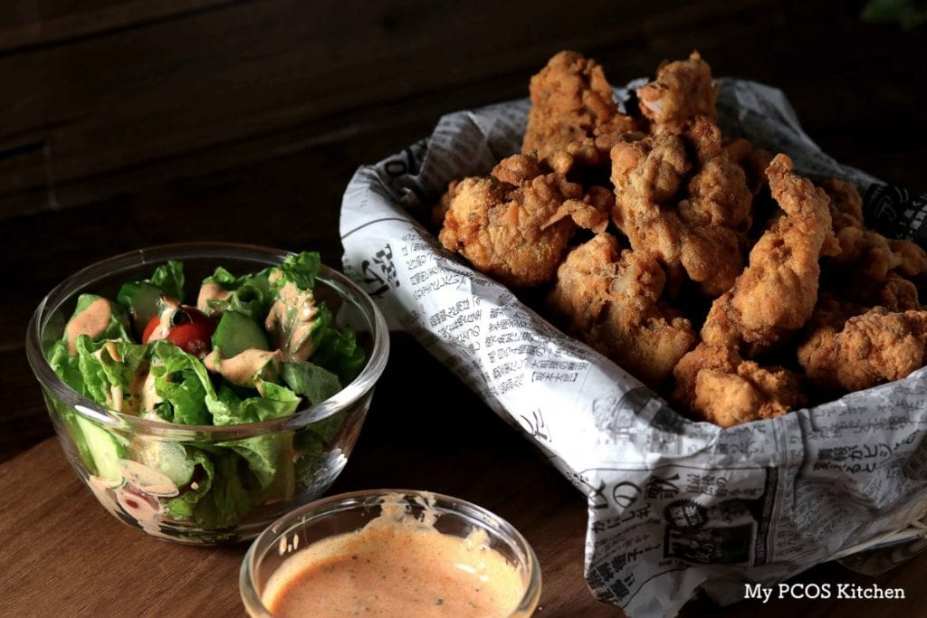 My PCOS Kitchen - Crispy Keto Fried Chicken - These low carb boneless chicken pieces are the perfect gluten-free treat! No need for pork rinds, almond flour or parmesan when you got these bad boys!