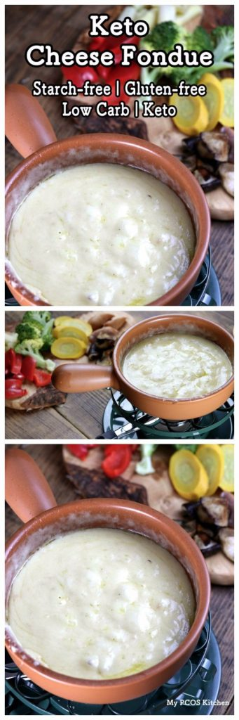 My PCOS Kitchen - Keto Cheese Fondue - This traditional cheese fondue does not use any starch or flour so that it stays low carb!