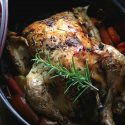 My PCOS Kitchen - Dutch Oven Roasted Chicken - This Keto Paleo Roast Chicken is low carb, gluten-free and grain-free. The perfect healthy dinner, and you can make homemade bone broth with the leftover juices!