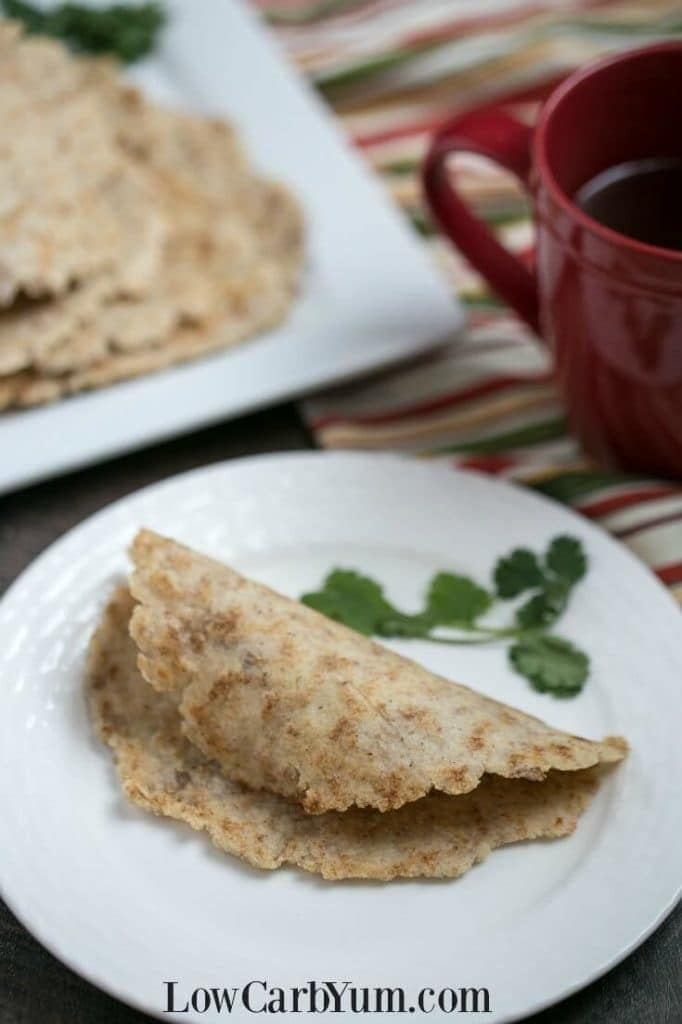 Almond Flour Low Carb Tortillas - Low Carb Yum - Low Carb Keto Psyllium Baked Goods Recipe Round Up