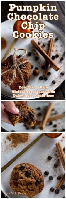 My PCOS Kitchen - Keto Flourless Pumpkin Chocolate Chip Cookies - These gluten-free, sugar-free and dairy-free cookies are perfect for Halloween or Thanksgiving!