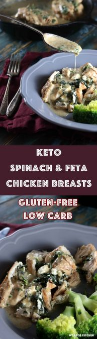 Keto Spinach & Feta Stuffed Chicken Breast with Creamy Sauce - My PCOS Kitchen - A delicious starch-free and gluten-free cream sauce over stuffed chicken breasts! This simple meal will impress the whole family! #glutenfree #keto #lowcarb #ketogenic #chicken