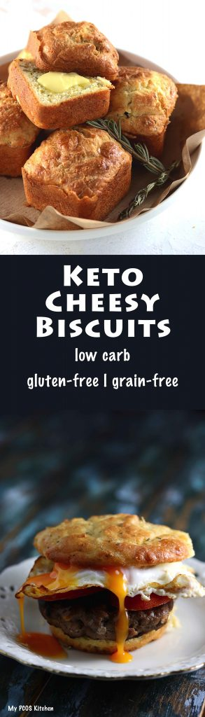 My PCOS Kitchen - Keto Cheesy Biscuits - These low carb gluten-free biscuits are made with almond flour, sour cream and cheese! They are perfect for breakfast or a delicious snack!