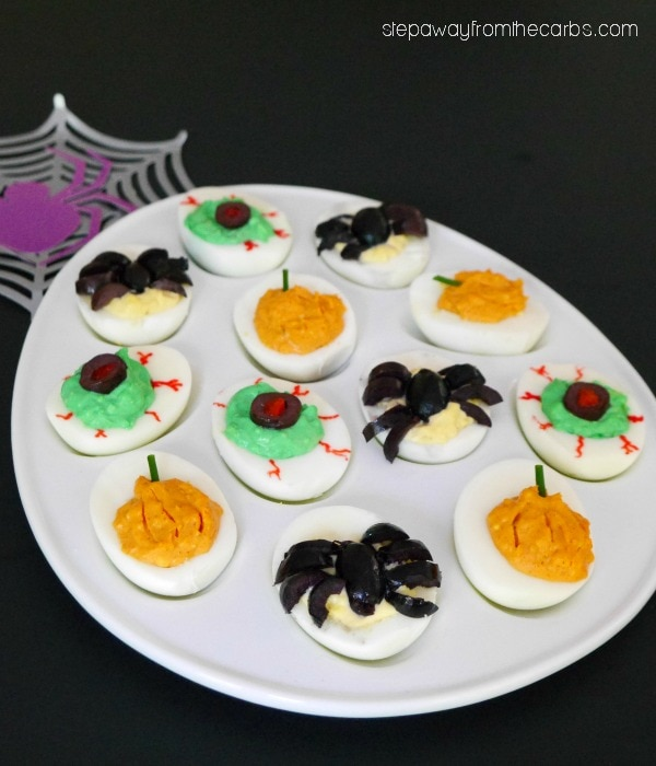 My PCOS Kitchen - Step Away from the Carbs - Halloween Deviled Eggs - Low Carb Halloween Recipes Roundup - Spiders, pumpkins, and zombie eyes, oh my! Your guests will love these Halloween Deviled Eggs!