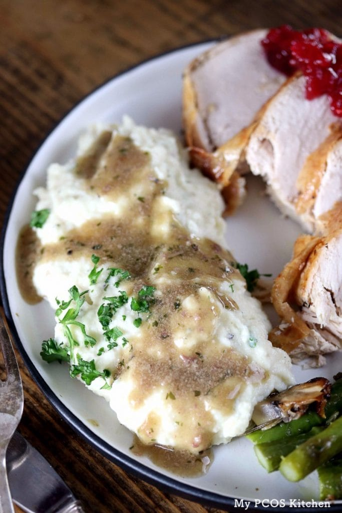 My PCOS Kitchen - Paleo Turkey Giblet Gravy - A delicious chunky dairy-free gravy served over mashed cauliflower!