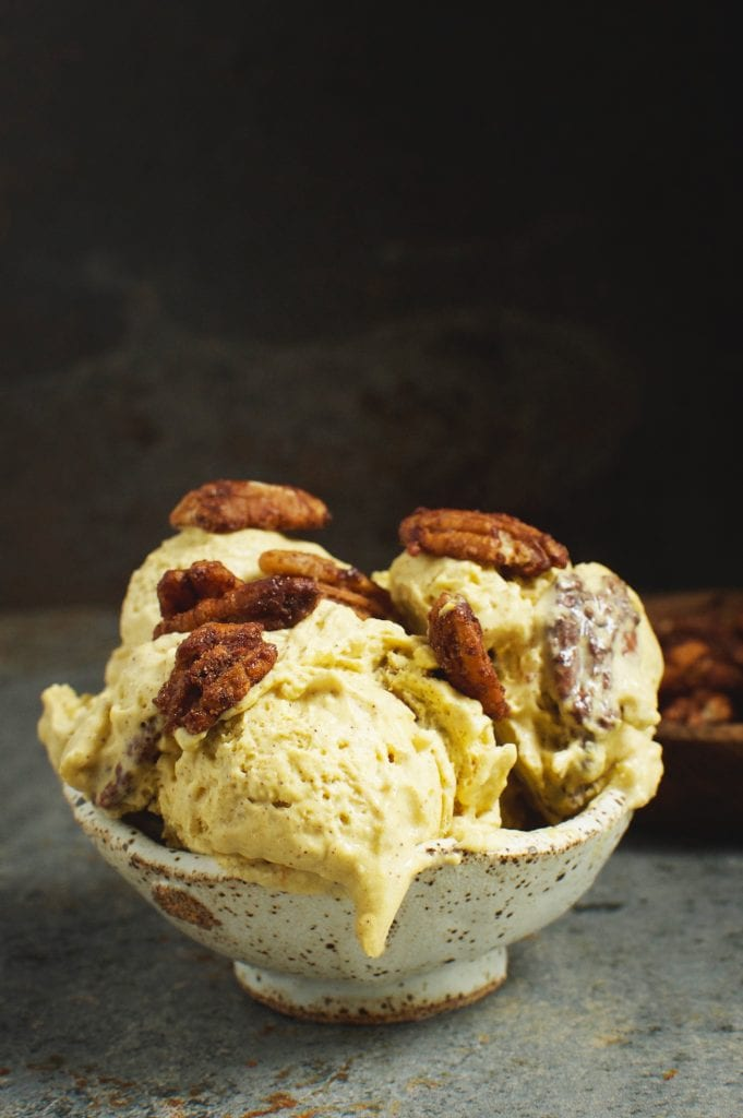 My PCOS Kitchen - Simply So Healthy - 40+ Low Carb Thanksgiving Recipes - Low Carb Candied Pecan Pumpkin Pie Ice Cream