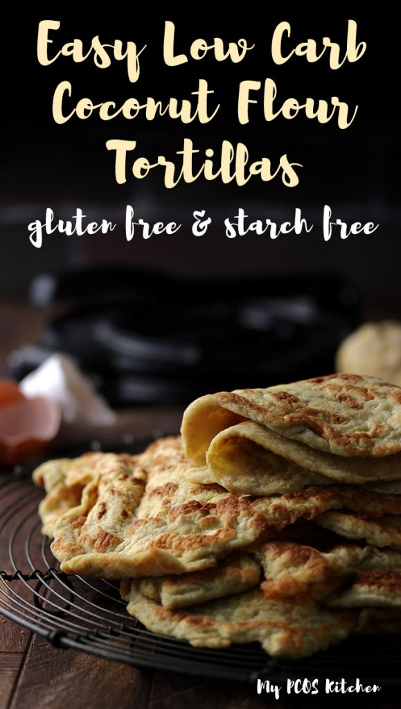 These low carb keto tortillas are to die for! They're the best wraps for quesadillas, fajitas, enchiladas, tacos and more! Made completely gluten free, dairy free and nut free, you'll love how easy these coconut tortillas are! #tortillas #lowcarbwraps #ketowraps #mypcoskitchen