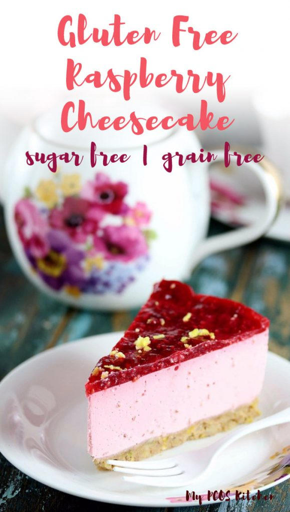 This AMAZING raspberry cheesecake recipe is made with fresh raspberries and lemon with a pistachio crust, raspberry mouse and raspberry jelly. It's the best sugar free cheesecake recipe you'll ever make! And it can be made with into cupcakes and bites!