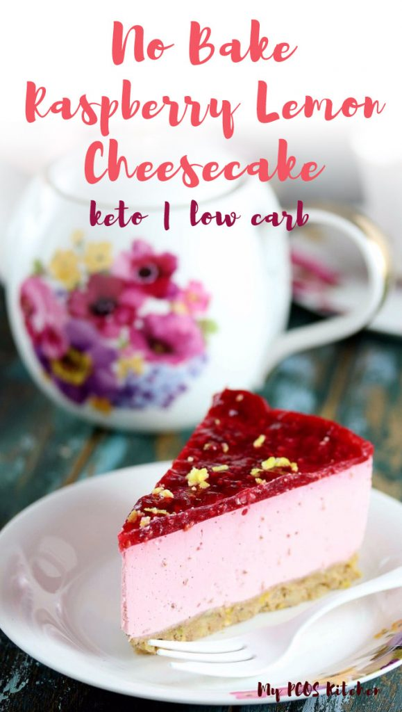 This delicious keto raspberry cheesecake is made with fresh raspberry and lemon. It's the best sugar free cheesecake you'll ever make. You can make it into a cake, cupcakes or bites!