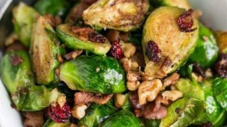 Pan Fried Brussels Sprouts with Bacon & Cranberries