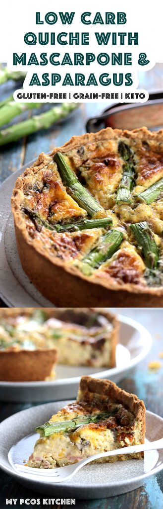 My PCOS Kitchen - Low Carb Quiche with Mascarpone & Asparagus - A Gluten-free Keto Quiche made with creamy mascarpone, ham, mushrooms, asparagus and cheddar cheese. #lowcarb #keto #quiche #mascarpone