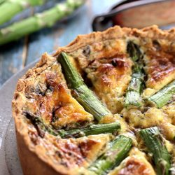 My PCOS Kitchen - Low Carb Quiche with Mascarpone & Asparagus - A delicious round and tall gluten-free quiche that is topped with fresh asparagus.