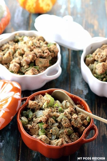 My PCOS Kitchen - Low Carb Stuffing with Sausage - Gluten-free and paleo stuffing in orange and white pumpkin ramekins from Staub.